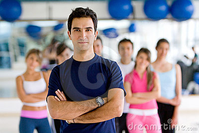 Gym man with group