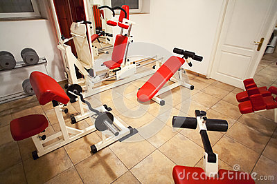 Gym room training machines
