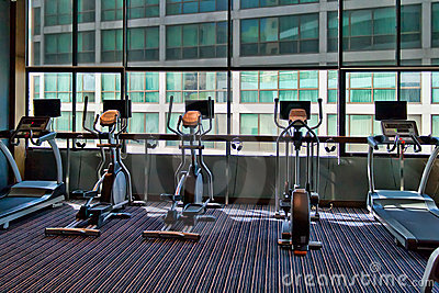 Gym a stationary bike