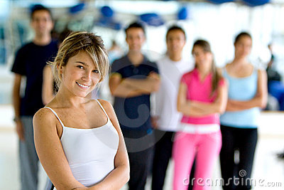 Gym woman with group