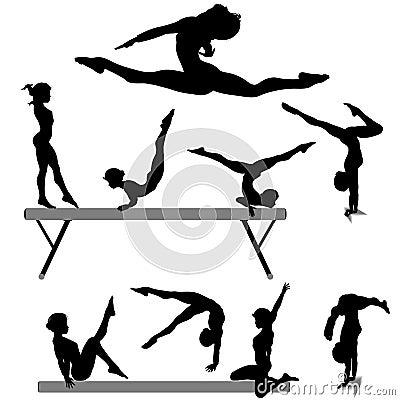 Gymnast balance beam gymnastics silhouette