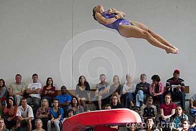 Gymnast Girl Jump Vault Spin Editorial Photography