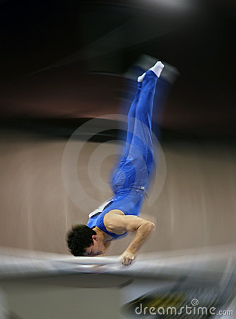 Gymnast on parallel bar