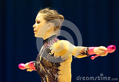 Gymnast performs at Irina Deleanu Orange Trophy Editorial Stock Image