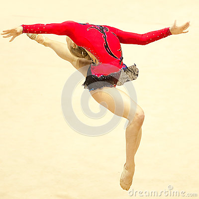 Gymnast performs during Irina Deleanu Trophy Editorial Image