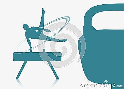 Gymnast on a pommel