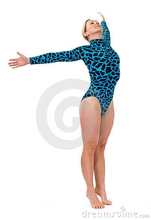 Gymnast standing on her toes