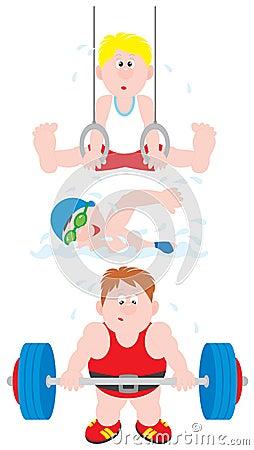 Gymnast, swimmer, weightlifter