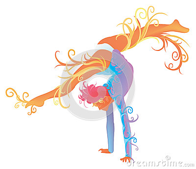 Gymnastic performer with abstract concept