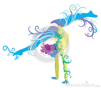 Gymnastic performer with fantasy concept