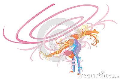 Gymnastic performer with fantasy concept