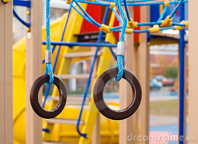 Gymnastic rings at the playground