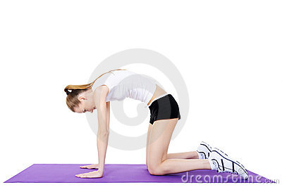 Gymnastics of female on the gymnastic carpet