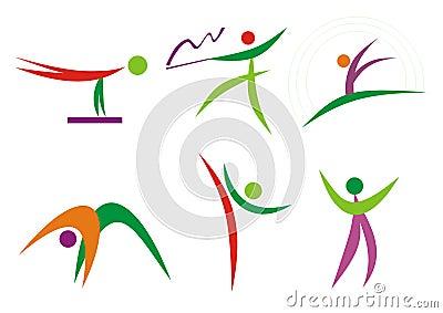 Gymnastics & fitness people silhouettes