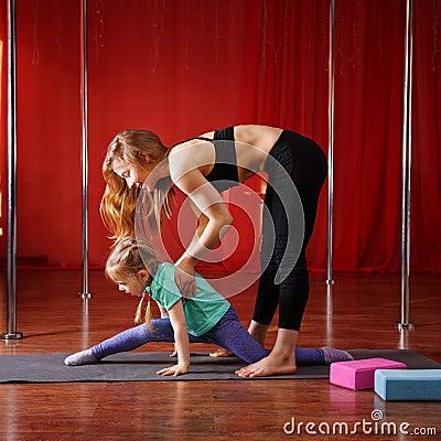 Free Gymnastics For Kids With Coach Stock Photos - 95053533