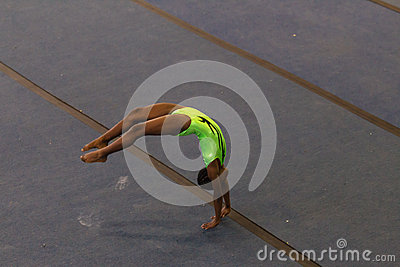 Gymnastics Girl Floor Tumbling Style Editorial Stock Photo
