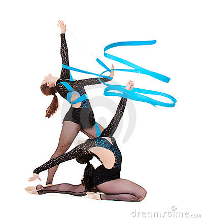 Gymnasts dancing with blue ribbons