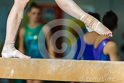 Gymnasts Girl Feet Strapped Beam Editorial Stock Photo