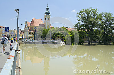 GYOR, HUNGARY/EUROPE - JUNE 8TH 2013: Carmelite Church at Flooding Raba River in Gyor, Hungary Editorial Stock Photo