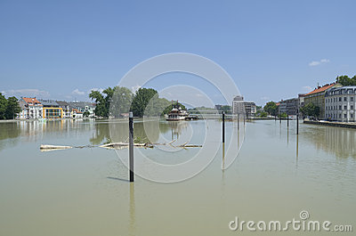 GYOR, HUNGARY/EUROPE - JUNE 8TH 2013: Flooding Danube River in Gyor Downtown, Hungary Editorial Stock Image