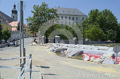 GYOR, HUNGARY/EUROPE - JUNE 8TH 2013: Sandbags Holding Back Flooding Danube River in Gyor, Hungary Editorial Image