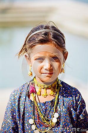 Gypsy Girl in Pushkar, Rajasthan India Editorial Photography