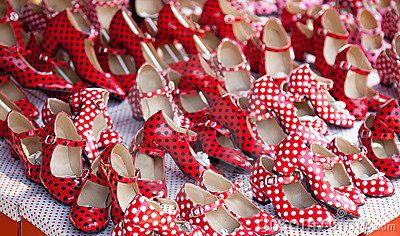 Gypsy red shoes with polka dot spots