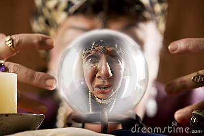 Gyspy seen in a crystal ball