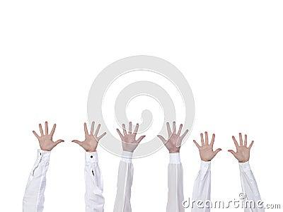 Hände angehoben