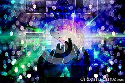 Hände der Leuchte