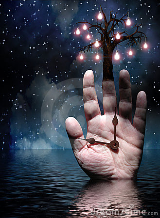 Hände des Baums der Leuchte