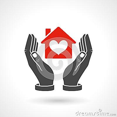 h nde die haus symbol mit herz form halten vektor abbildung bild 50307555. Black Bedroom Furniture Sets. Home Design Ideas