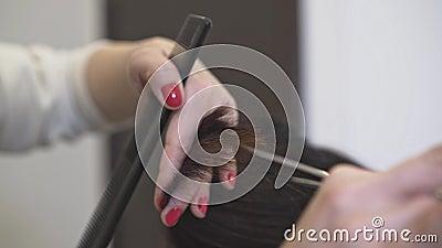 Hände eines unerkennbaren Friseurs, der dunkles langes Haar ihres Kunden schneidet stock video