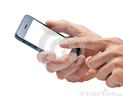 Hände unter Verwendung des Handys