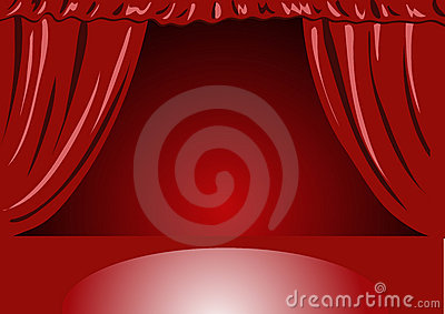 Hänger upp gardiner röd teatersammet