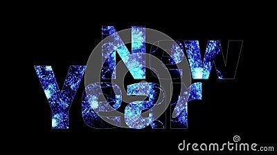 Härliga blåa fyrverkerier glöder till och med det lyckliga nya året för text Sammansättning för berömmen för nytt år brigham vektor illustrationer