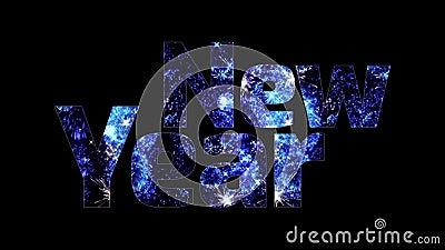 Härliga blåa fyrverkerier glöder till och med det lyckliga nya året för text Sammansättning för berömmen för nytt år brigham royaltyfri illustrationer