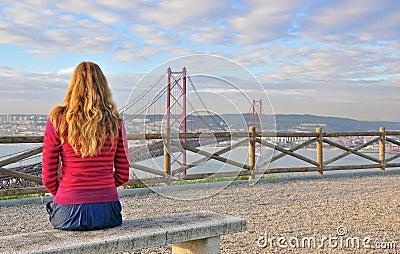 Hållande ögonen på stora Lissabon, Portugal