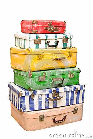 Hög av resväskor.