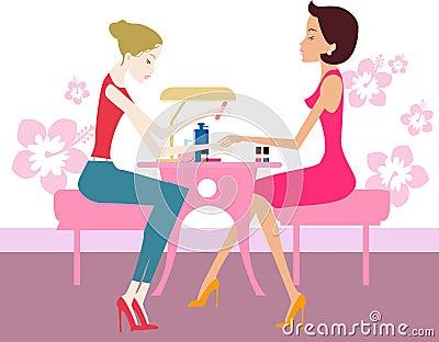 Hübsches Mädchen mit dem Nagellack, der Füße zeigt