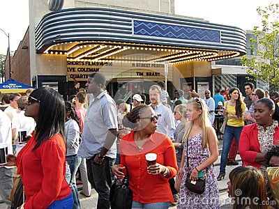 H Street Crowd at the Theatre Editorial Stock Image