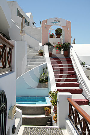 Hôtel de Firostefani, Santorini Photo stock éditorial