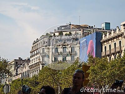 Hôtel majestueux, Barcelone Image stock éditorial