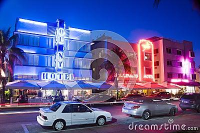 Hôtels du sud éditoriaux de Miami de plage Image stock éditorial
