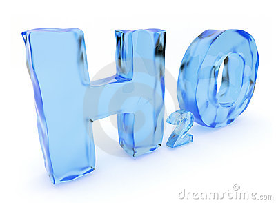 H2O water letters. Isolated, 3D illustration