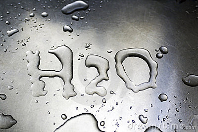 H2O written with water