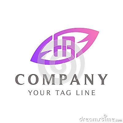 HA abstract logo, leaf shape outside Vector Illustration