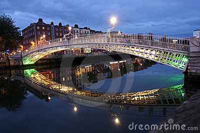 The ha penny bridge in dublin, ireland