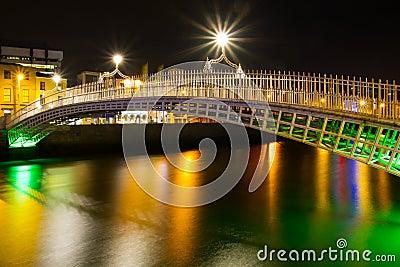 Ha penny bridge in Dublin at night