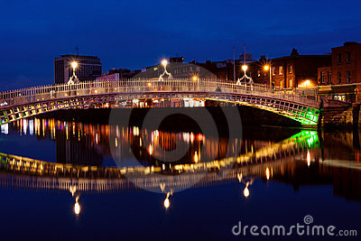 Ha penny bridge in Dublin at night. Ireland